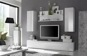 Ensemble Meuble TV Blanc Laqu Design OLIVIER 6