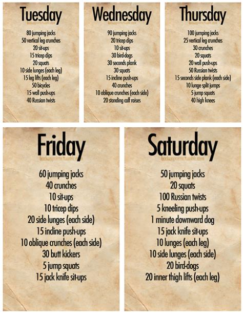 Weekly Workout Plan at Home