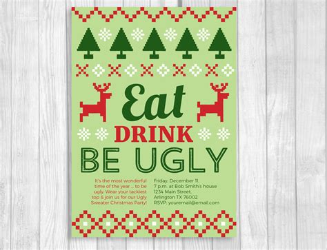 ugly christmas sweater party printable invitation
