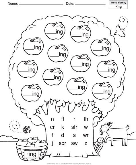 8 Best Images Of Ing Word Family Printables  Ing Word Family Worksheets Kindergarten, Ing Word