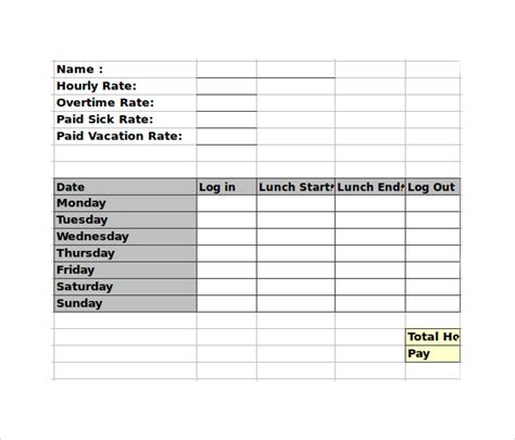 Timesheet With Meal Break Template by 10 Employee Timesheet Calculator Sles Exles