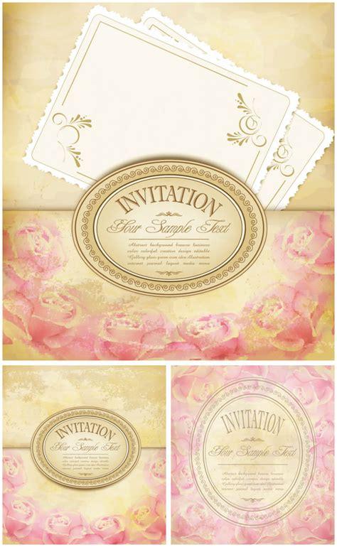 Vintage floral invitations vector Free Stock Vector Art