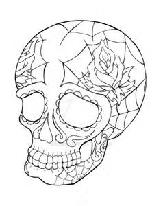 Sugar Skull Line Drawing Art Outline