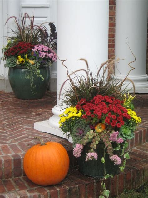 fall flower pot ideas fall decor ideas beautiful fall planter with garden mums and flowering kale fall decor
