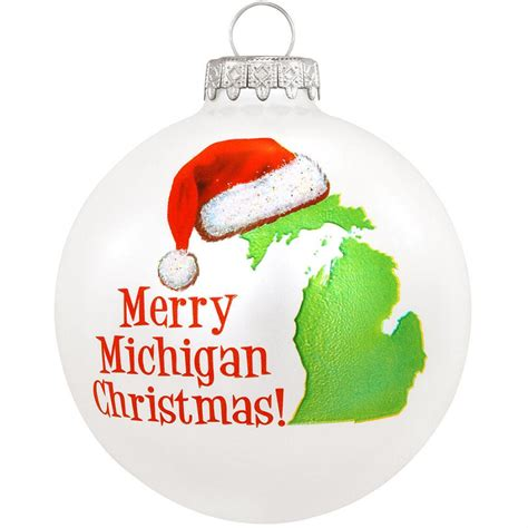 michigan christmas picture merry michigan glass ornament travel vacation
