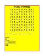 english worksheets states  matter word search
