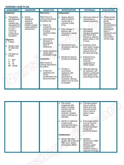 Nursingcribcom Nursing Care Plan Anemia