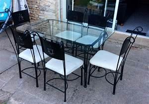 Chaise En Verre : table en verre fer forge et chaises ~ Teatrodelosmanantiales.com Idées de Décoration