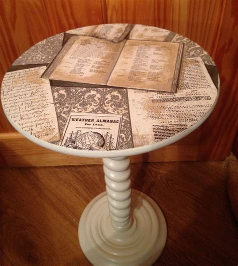 small lamp table painted   ochre  decoupage top