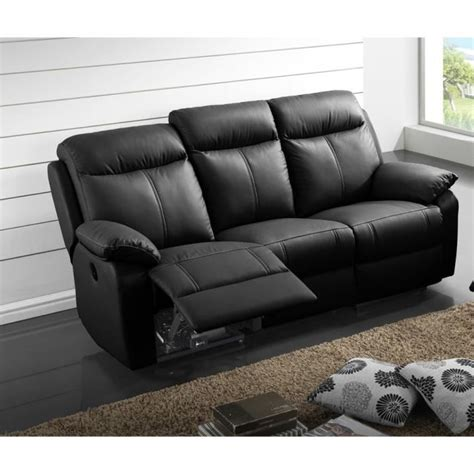 canape cuir electrique canapé relax électrique 3 places cuir noir vyctoire l