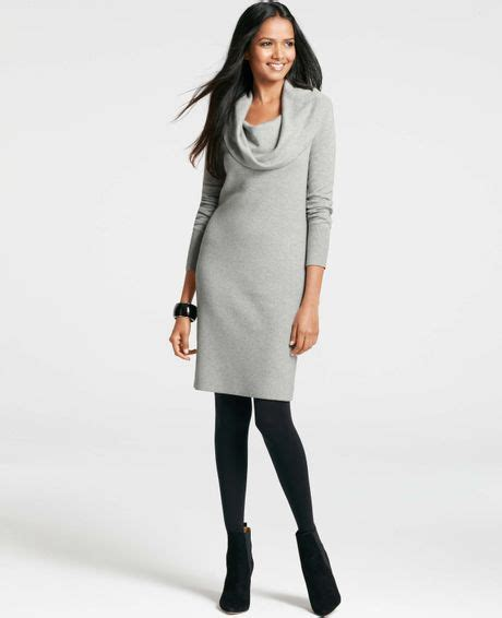 gray sweater dress cowl neck sweater dress in gray silver