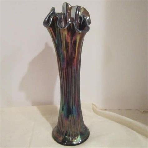carnival glass vase vintage fenton carnival glass vase purple opalescent sold