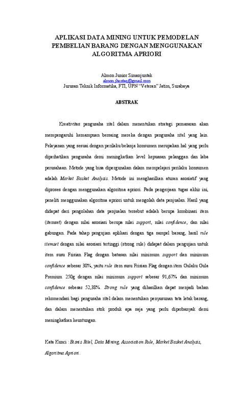 Paper Apriori Almon Simanjuntak | Almon Simanjuntak