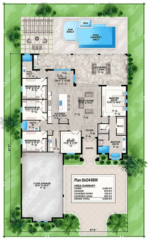 4 Bed House Plan with Front to Back Views   86044BW