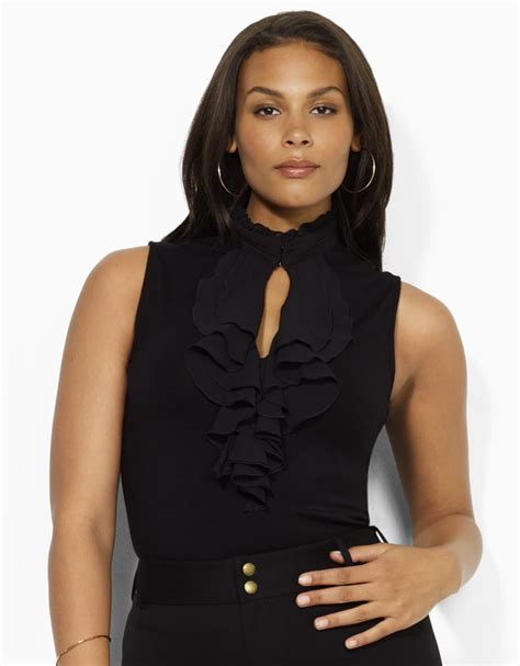 black blouse plus size by ralph plus size emely georgette ruffled
