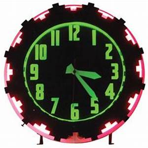 Aztec neon gas station clock pink & green neon a great
