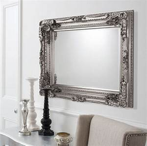 Carved Ornate Framed Silver Wall Mirror French Mirror