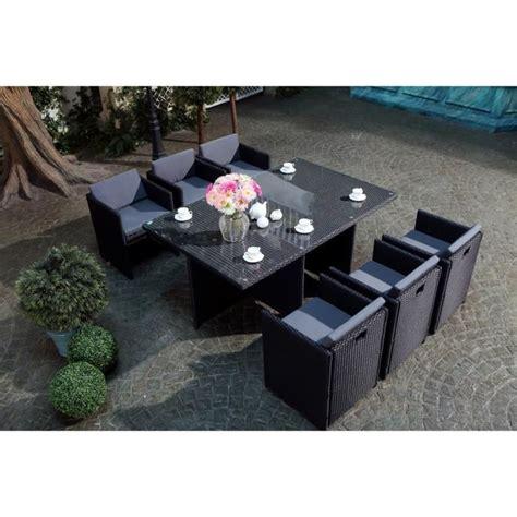 salon de jardin 6 personnes miami 6 salon de jardin encastrable 6 places en r 233 sine tress 233 e noir ecru achat vente salon