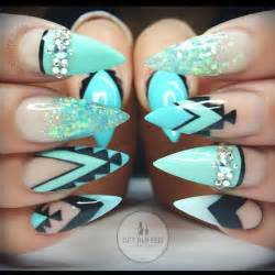 nail design muster blue aztec stiletto nails blue makeup and nails stiletto nail