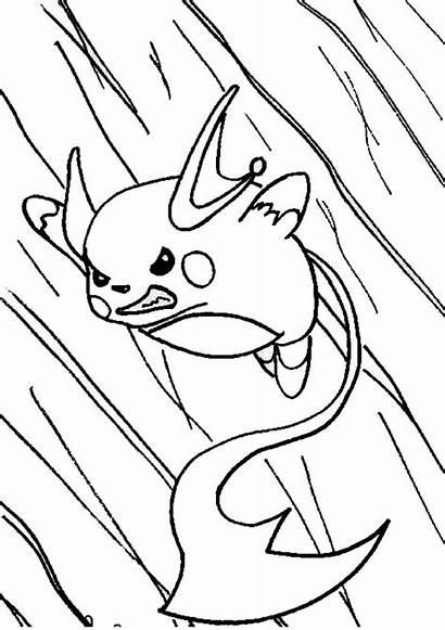 Raichu Coloring Pokemon Pages Alolan Action Drawing