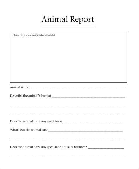 animal report templates  sample  format