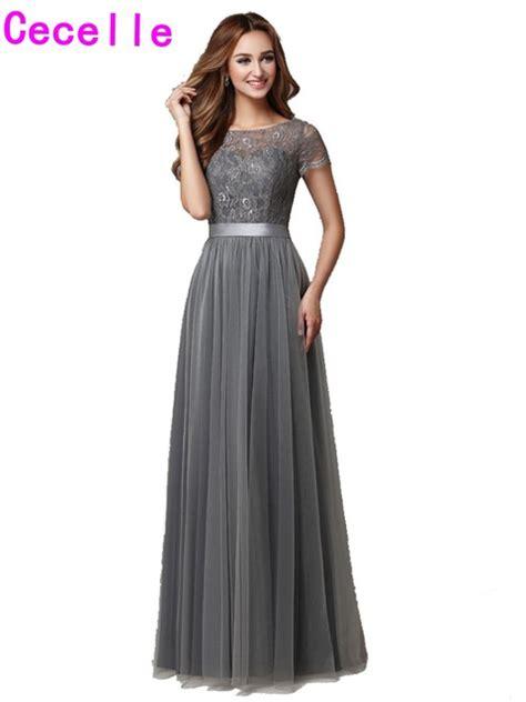 grey long modest bridesmaid dresses  cap sleeves
