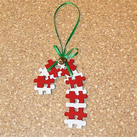 puzzle candy cane ornament craft christmas pinterest