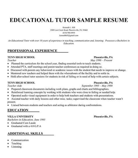 College Tutor Resume educational tutor resume sle resumecompanion