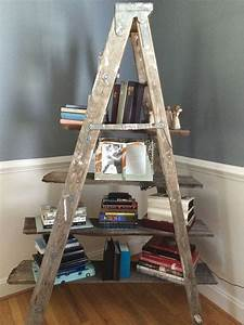 An, Old, Ladder, And, Barn, Wood, Make, A, Unique, Bookshelf