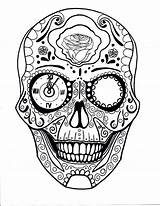 Skull Sugar Skulls Coloring Steampunk Candy sketch template