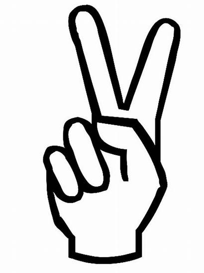 Hand Peace Sign Coloring Symbol Clipart Pages