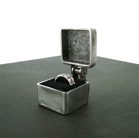 industrial wedding ring box steel ring box by