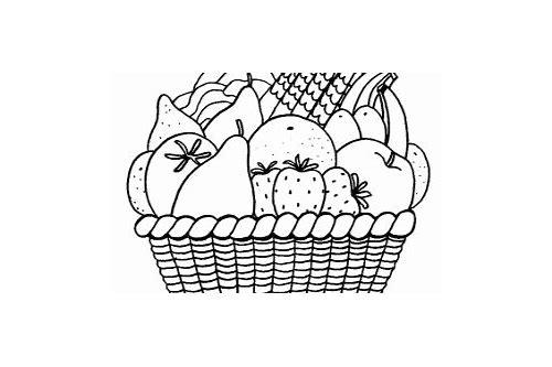 baixar imagens da cesta de frutas para colorir