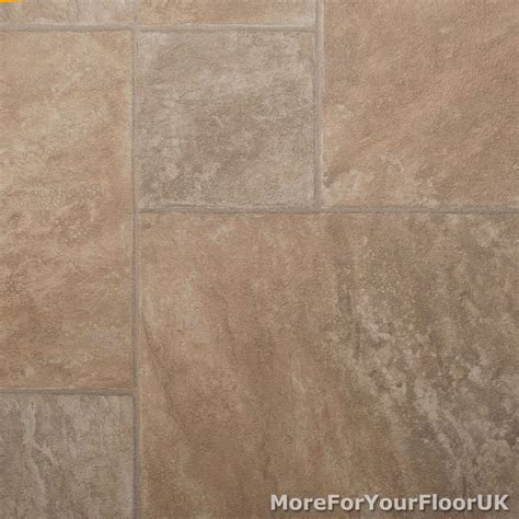 CHEAP Beige Slate Vinyl Flooring Roll Random Tile Effect