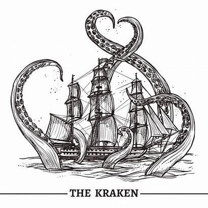 Kraken Vectors Ship Octopus Vector