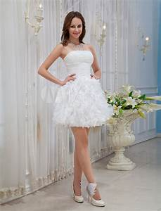 white strapless ruffles organza woman39s homecoming dress With robe de confirmation