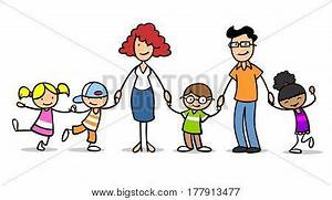 Different happy cartoon children in a foster family or ...