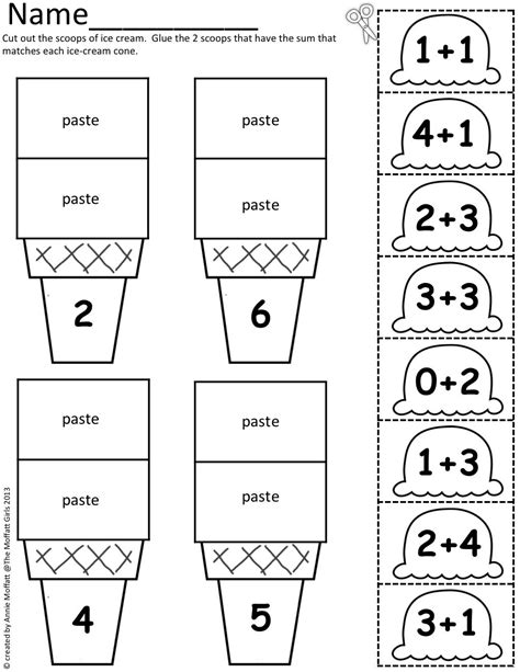 math scoops cut and paste addition up to 20 early childhood math prek 2 pinterest