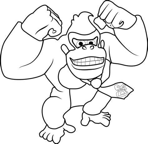 happy donkey kong coloring page  printable coloring