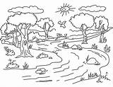 Forest Coloring Pages Landscape Nature Mountains Sea Sunny Island Raskrasil sketch template