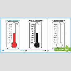 * New * Minus 20 To 20 Thermometer Worksheet  Minus 20 To 20 Thermometer