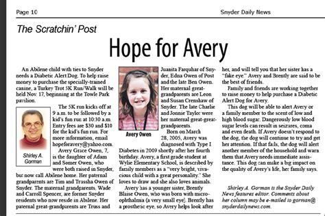 news article for avery snyder daily news for avery