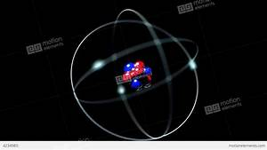 Atom Single Nucleus Proton Neutron Electron Loop Stock ...