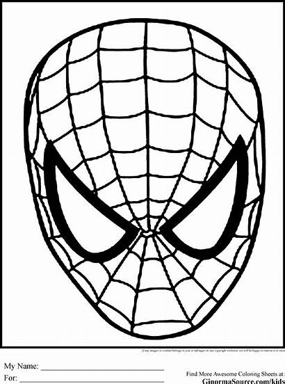 Spiderman Coloring Face Pages Clipart Mask Drawing