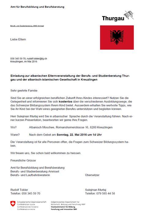 einladung zur albanischen elternveranstaltung der berufs