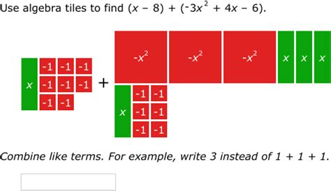 Algebra Tiles For by Ixl Add And Subtract Polynomials Using Algebra Tiles