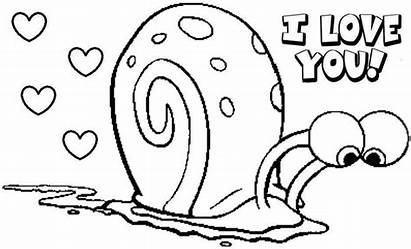Spongebob Coloring Pages Valentine Gary Funny Printable