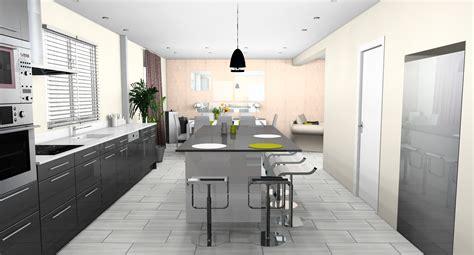 plan cuisine ouverte salle manger déco cuisine ouverte sur salle a manger exemples d