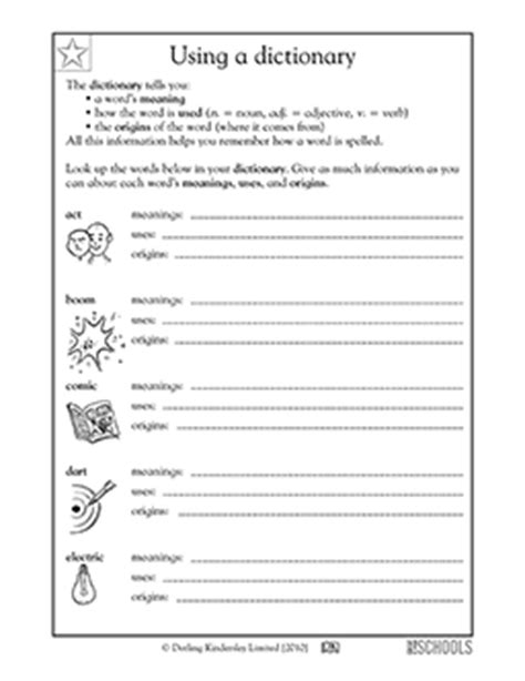 3rd grade reading writing worksheets using a dictionary 2nd grade 3rd grade reading writing worksheets using a