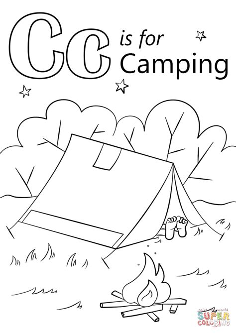 camping theme pages coloring pages 673 | letter c is for camping coloring page